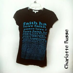 "Charlotte Russe small black ""faith"" tee"